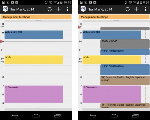 Normal Calendar on left, Integrated Calendar on right