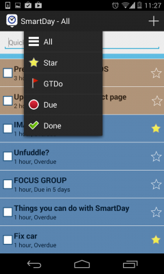 Drop-down menu for filtering and prioritizing tasks.