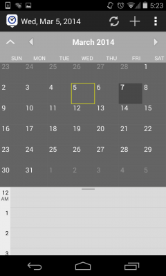 Jump to any day using the handy drop-down Month calendar.